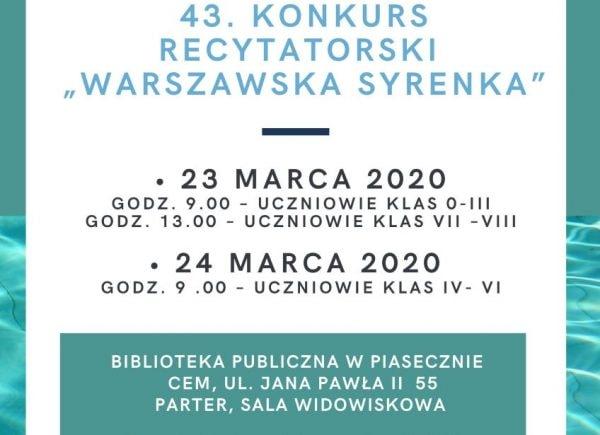 Konkurs recytatorski Warszawska Syrenka w Bibliotece w Piasecznie