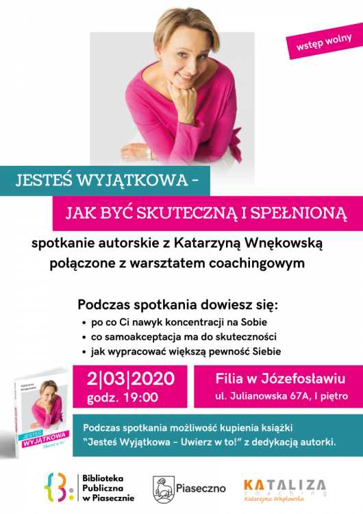 Plakat promujący spotkanie autorskie i warsztat coachingowy