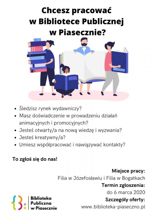 Plakat promujący nabór na bibliotekarza