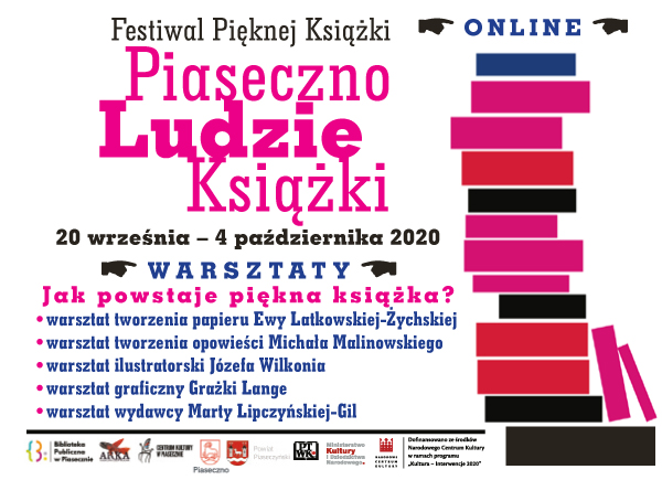 Plakat promujący warsztaty przeprowadzone w ramach Festiwalu Pięknej Książki