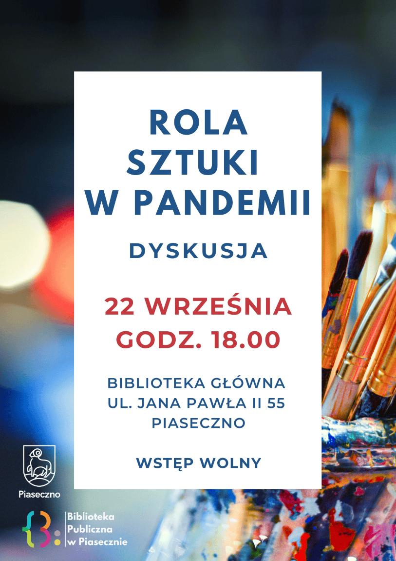 Plakat promujący spotkanie z Mirą Walczykowską na temat roli sztuki w czasie pandemii