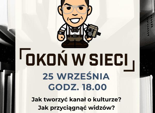 """plakat promujący spotkanie z Marcinem Okoniewskim """"Okoń w sieci"""""""