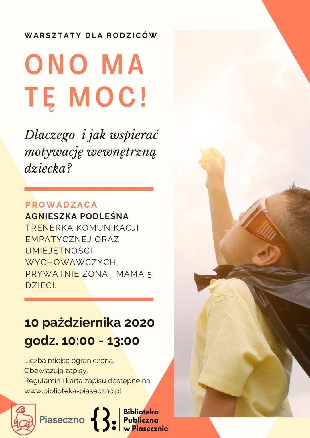 Plakat promujący warsztaty Ono Ma Tę Moc