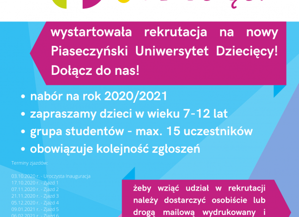 Plakat - Rekrutacja Piaseczyńskiego Uniwersytetu Dziecięcego