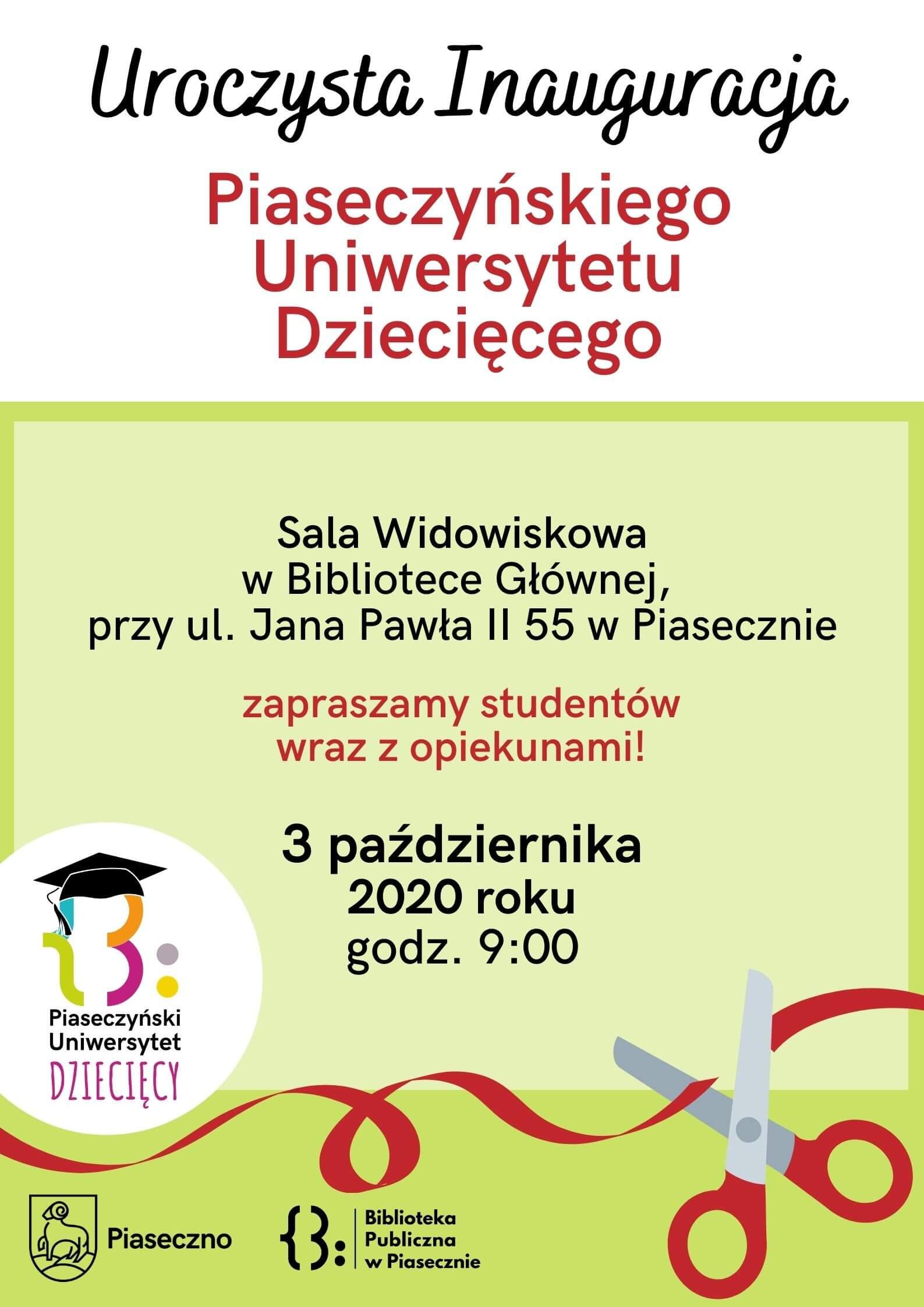 Plakat - Uroczysta Inauguracja Piaseczyńskiego Uniwersytetu Dziecięcego