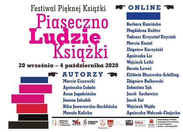 Plakat promujący nazwiska autorów, którzy wezmą udział w Festiwalu Pięknej Książki