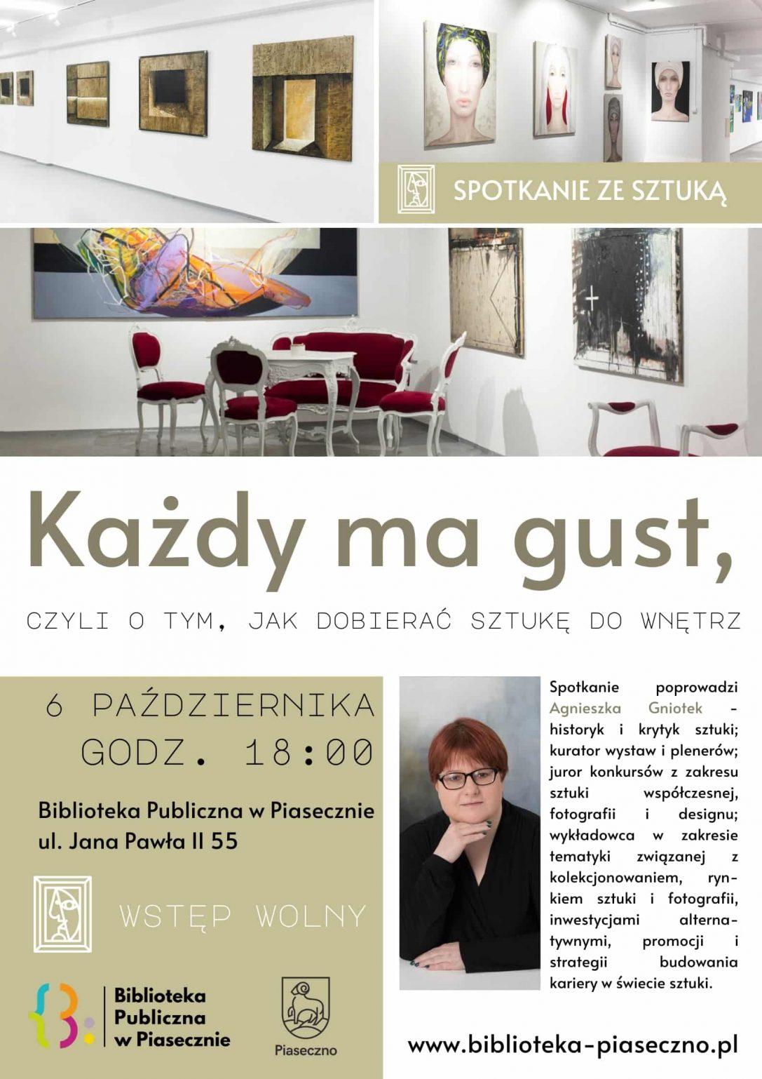 Plakat - spotkanie z Agnieszką Gniotek, pt.: Każdy ma gust