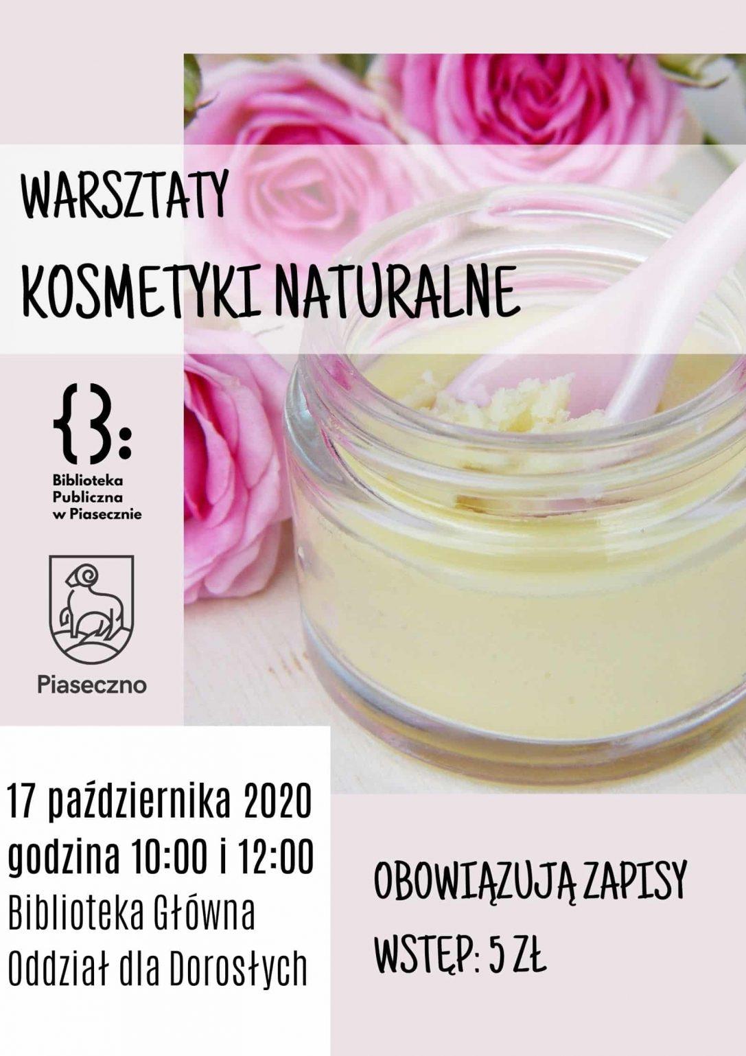 Plakat promujący warsztaty z tworzenia kosmetyków naturalnych