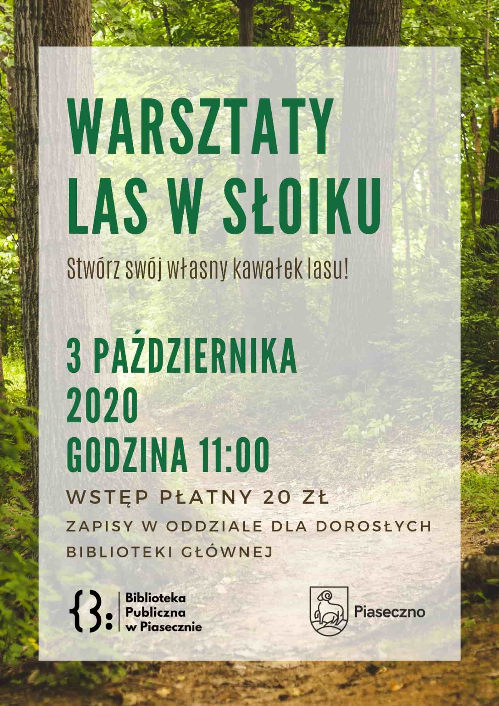 Plakat warsztaty las w słoiku
