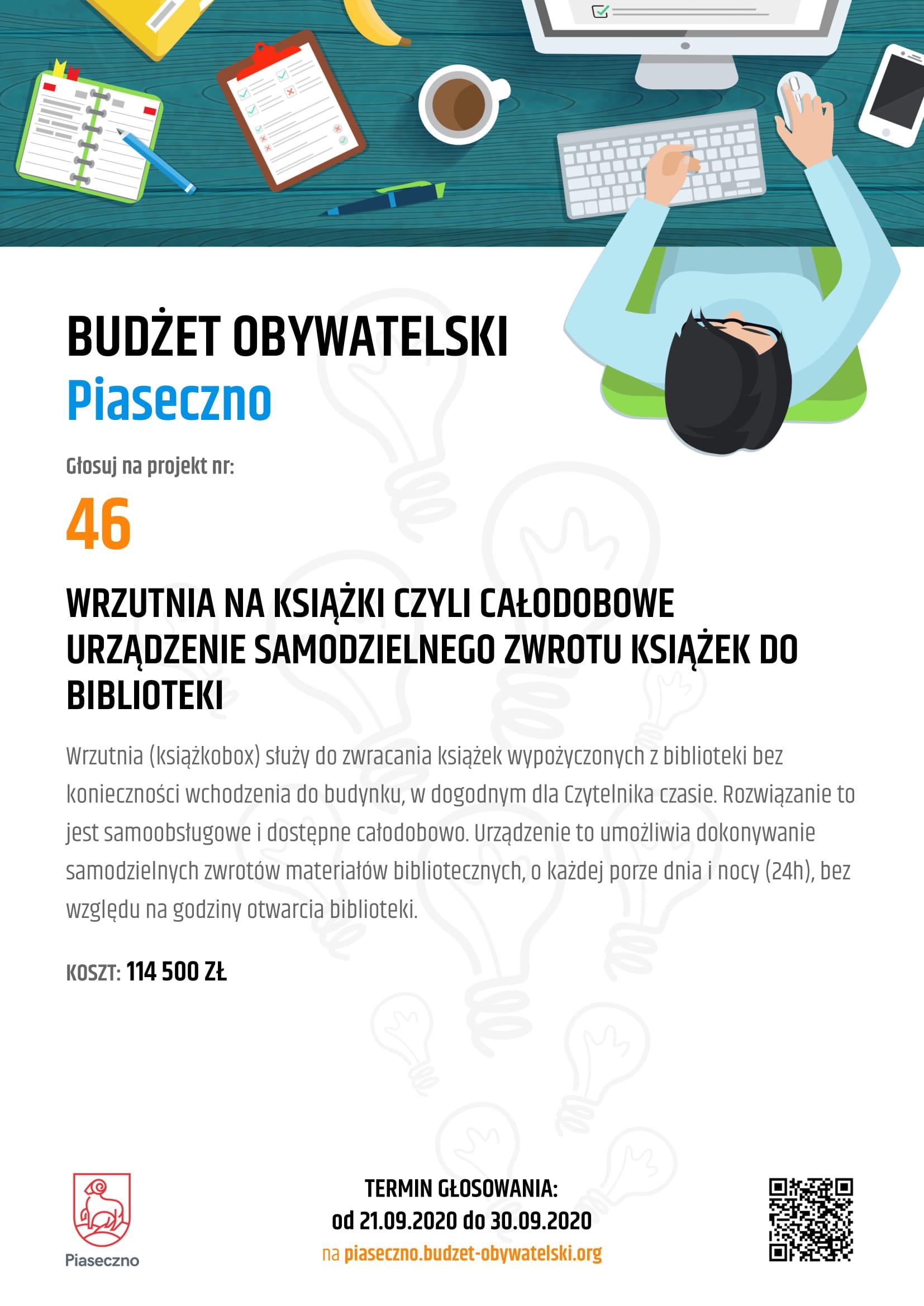 Plakat Budżet Obywatelski Piaseczno 46 Wrzutnia