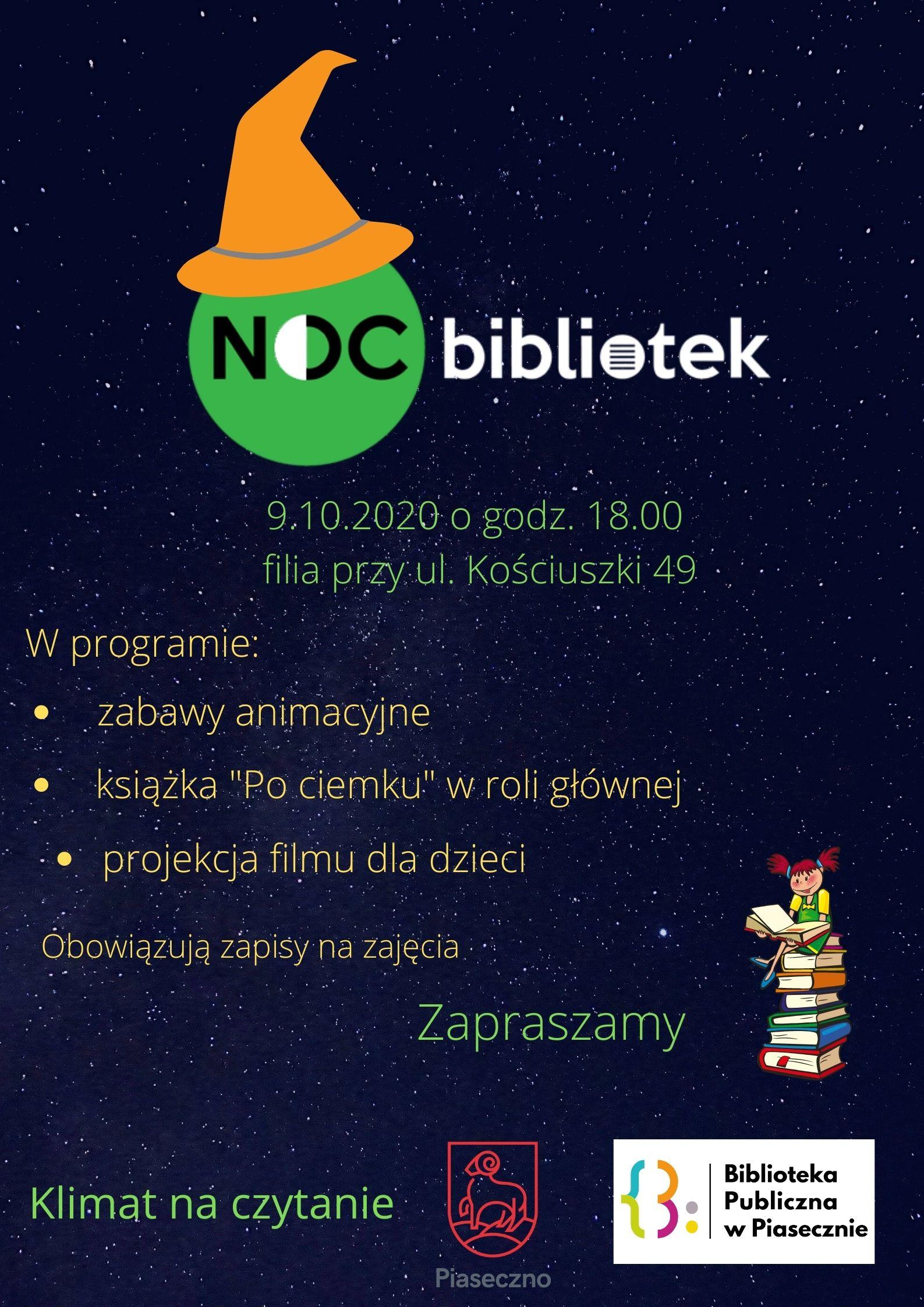 Plakat promujący wydarzenie: Noc Bibliotek