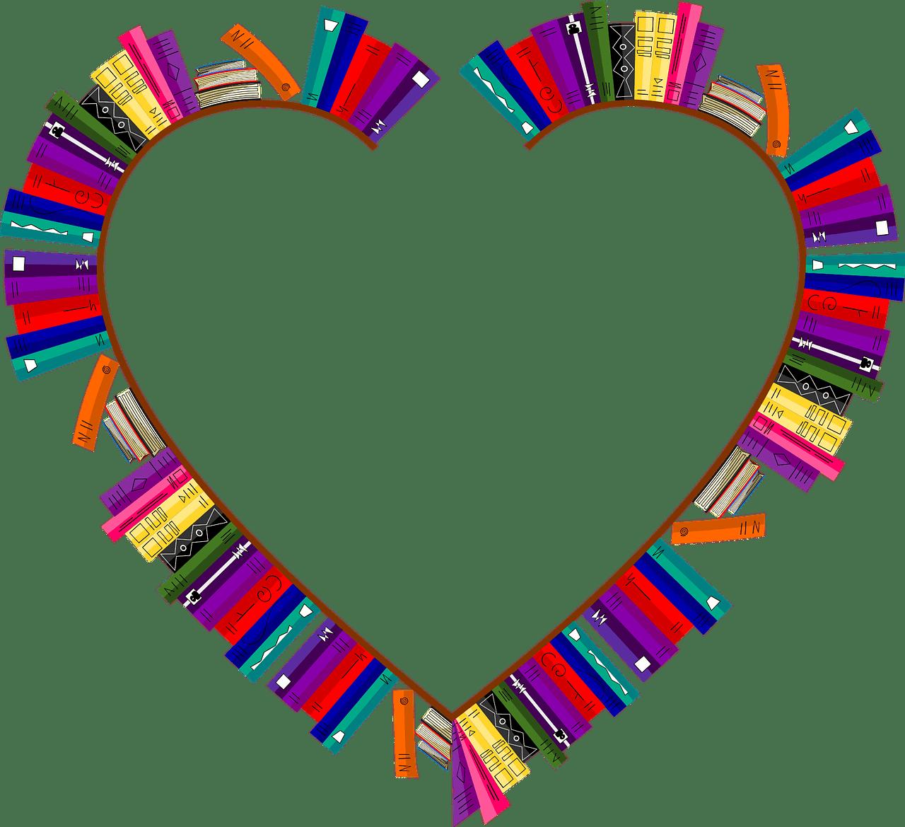 Grafika książek ułożonych nakształt serca