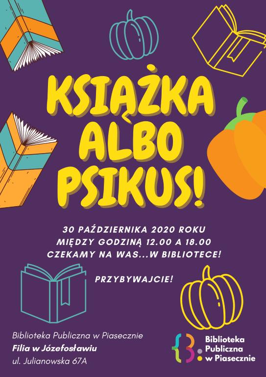 Plakat promujący wydarzenie: Książka albo psikus