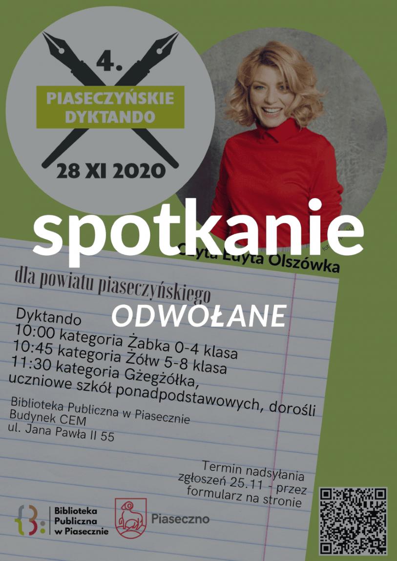 4. Dyktando Piaseczyńskie odwołane