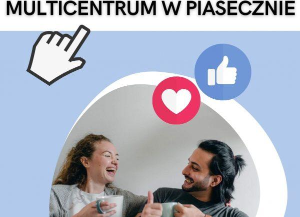 plakat promujący fanpage Multicentrum w Piasecznie
