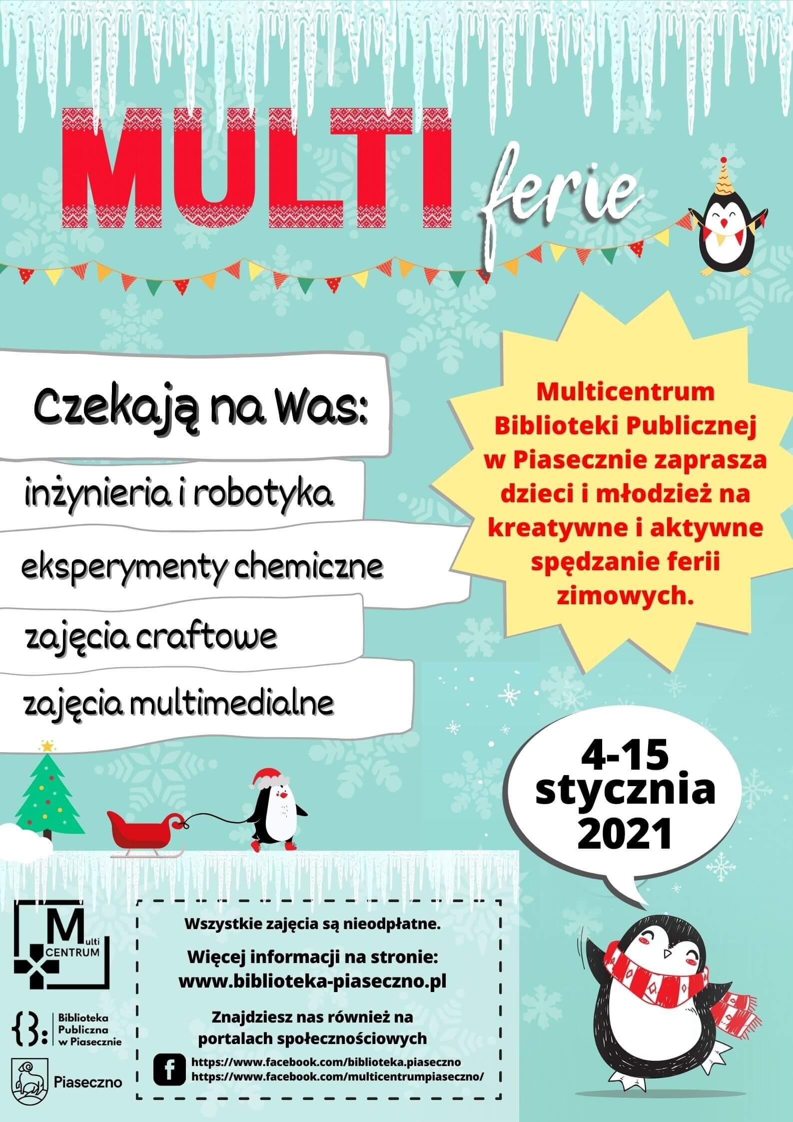 Plakat informujący o zajęciach Multicentrum podczas ferii zimowych