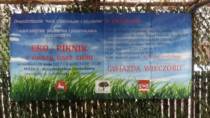 Baner dotyczący pikniku wmaju 2012 roku