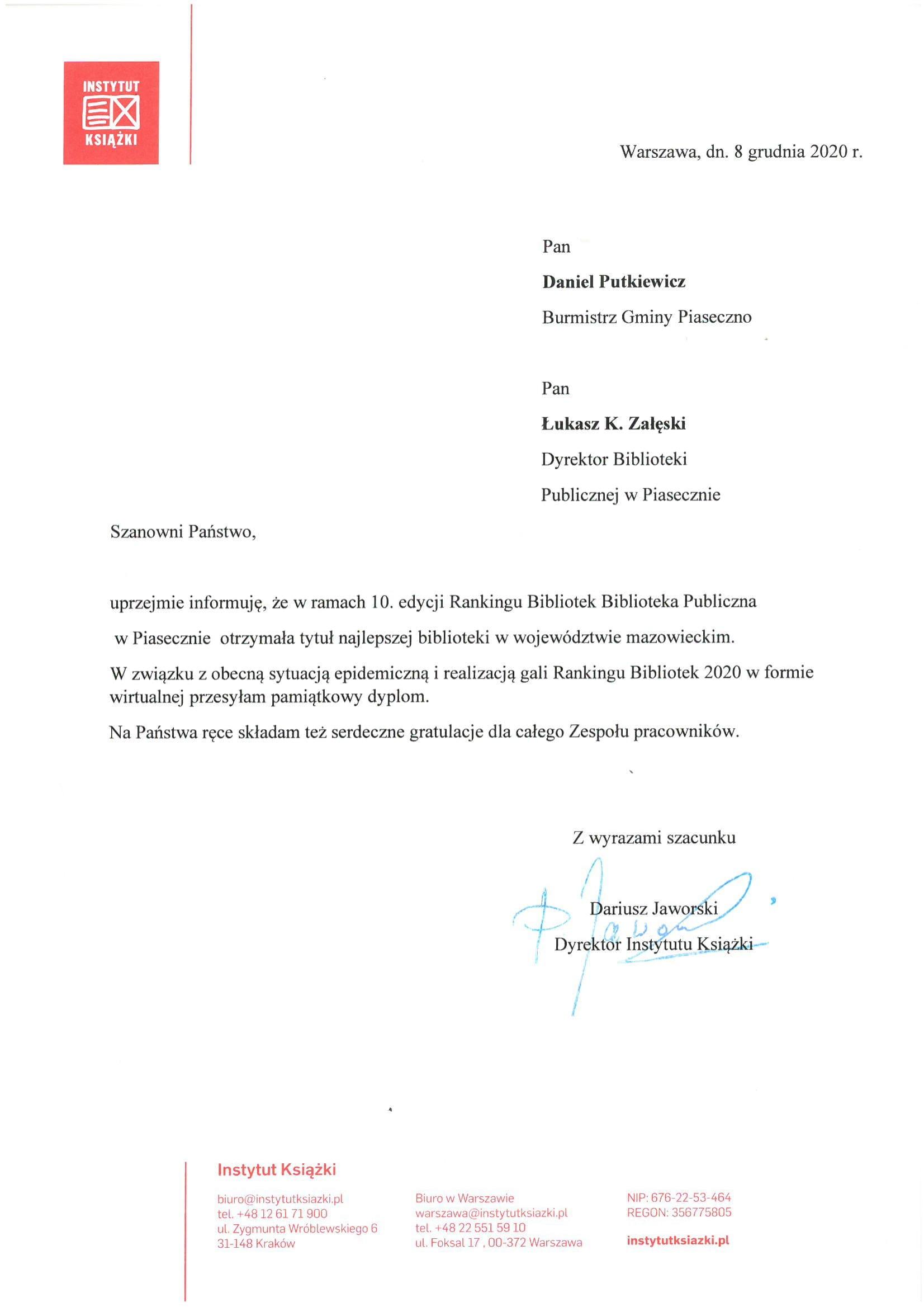 Raning Bibliotek 2020 1 miejsce naMazowszu - list gratulacyjny