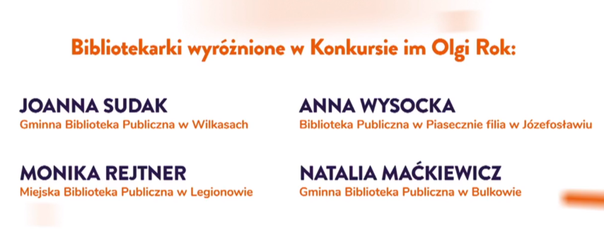 Konkurs Im.Olgi Rok - informacja owyróżnieniu Dla Anny Wysockiej