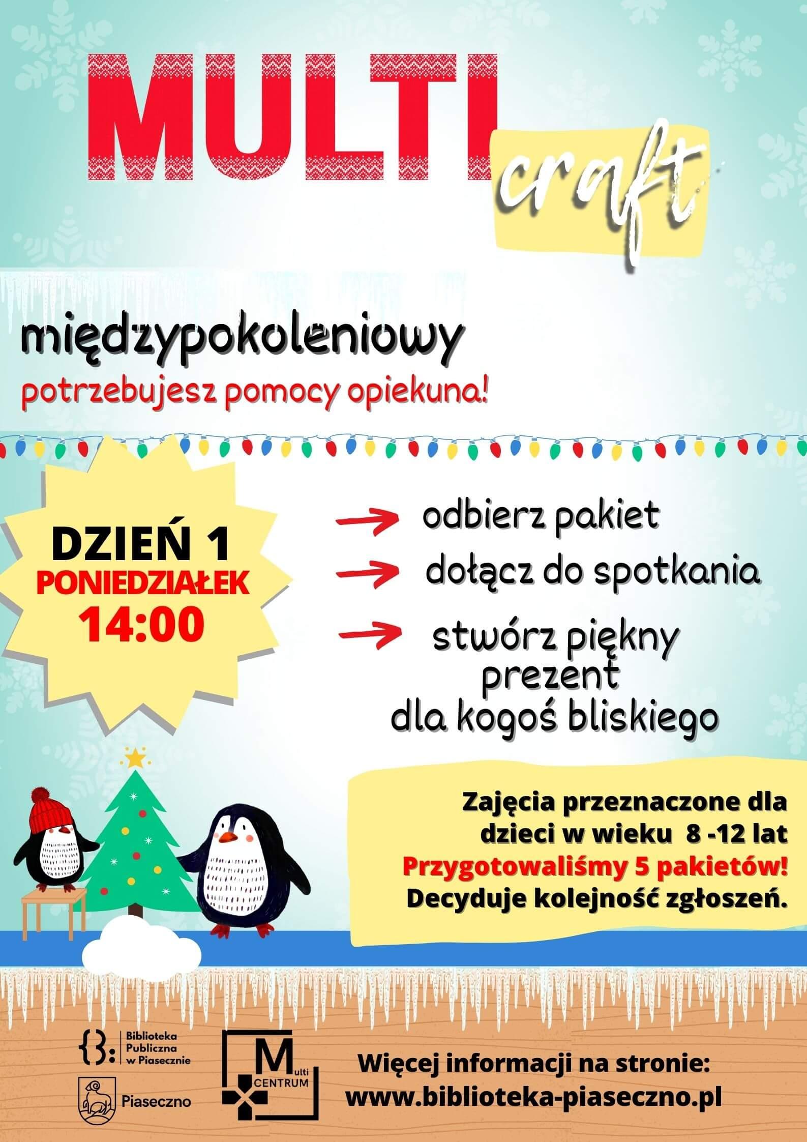 Plakat promujący zajęcia craftowe, które odbędą się podczas ferii zimowych 2021