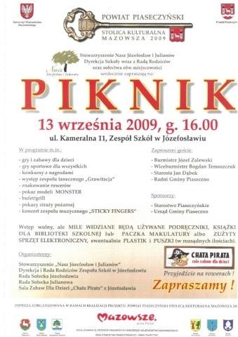 Plakat dotyczący pikniku w2009 roku