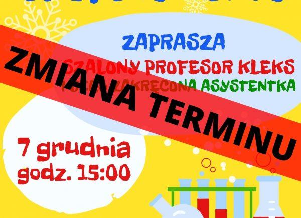 Plakat informujący o zmianie terminu spotkania