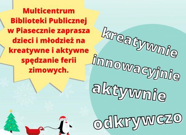 Plakat promujący ferie zimowe w Multicentrum