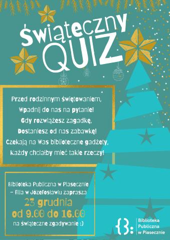 Plakat promujący wydarzenie świąteczny quiz