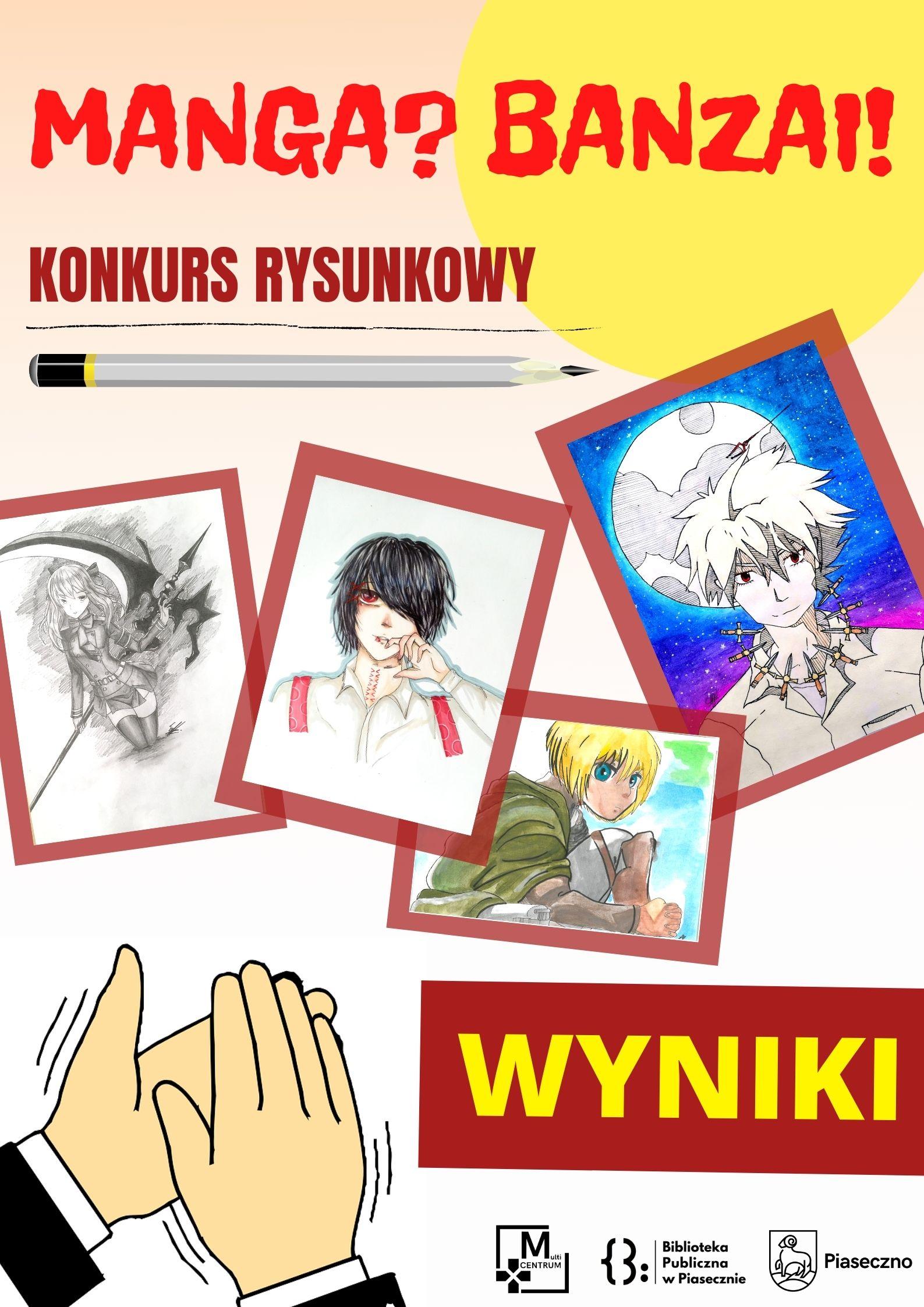 """Plakat informujący o wynikach konkursu """"Manga? Banzai!"""""""