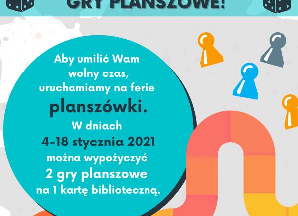 Plakat przedstawiający wydarzenie Na ferie wypożycz gry planszowe