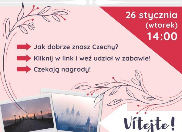 Plakat informujący o quizie na temat Czech