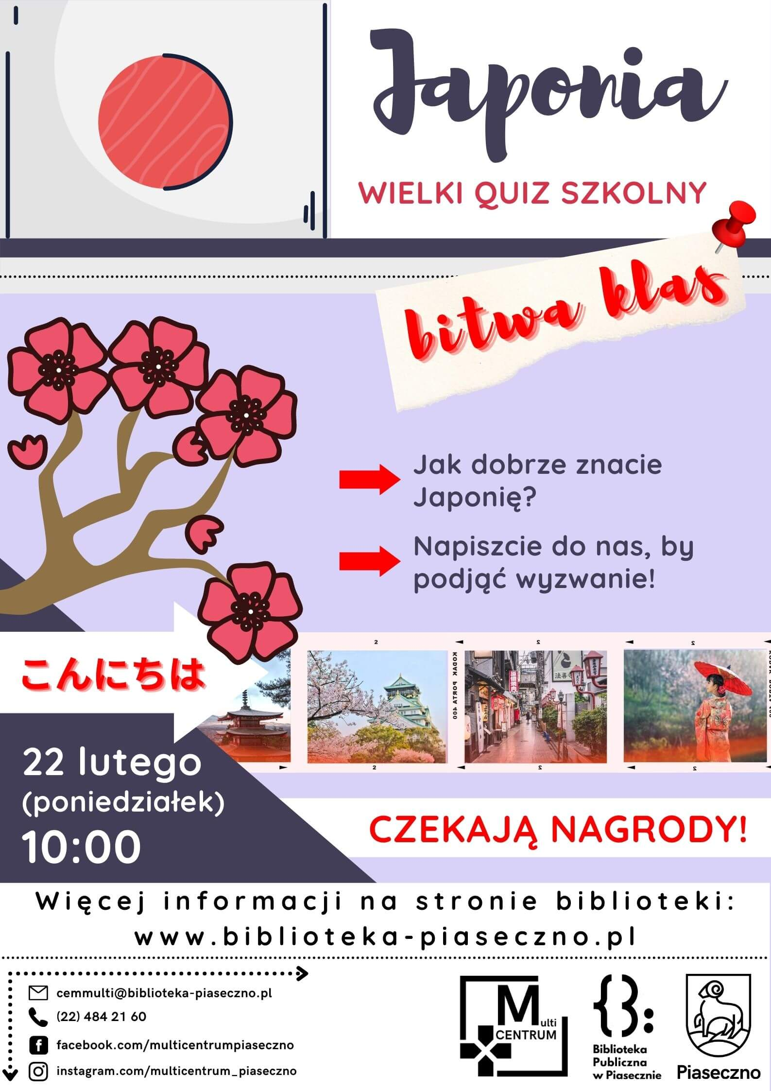 """Plakat informujący o Wielkim Quizie Szkolnym o Japonii - """"Bitwa klas!"""""""