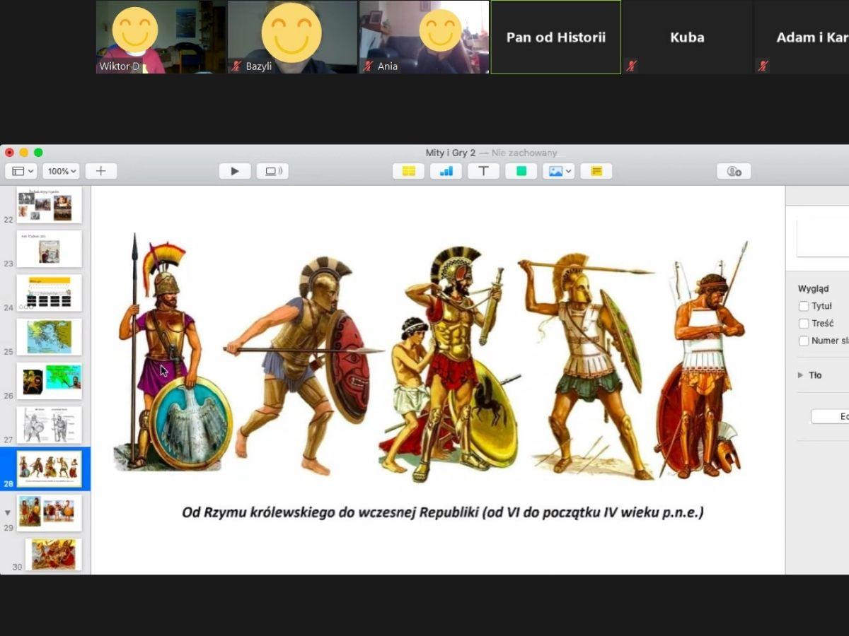 Zrzut ekranu zespotkania Mitologia
