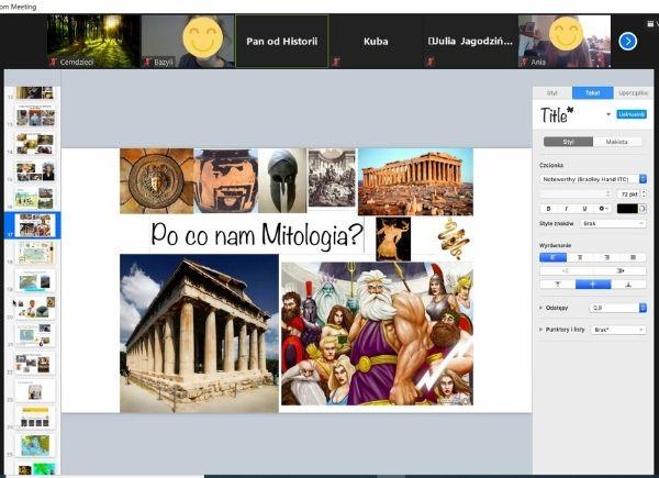 Zrzut ekranu ze spotkania Mitologia