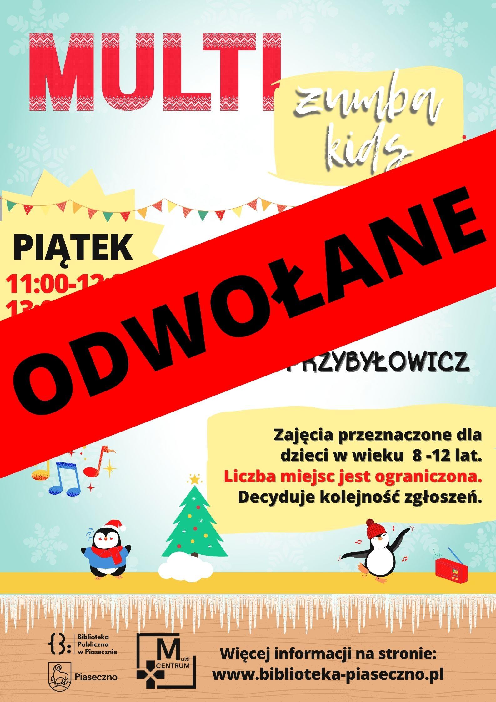 Plakat informujący o odwołanych zajęciach MultiZumba Kids