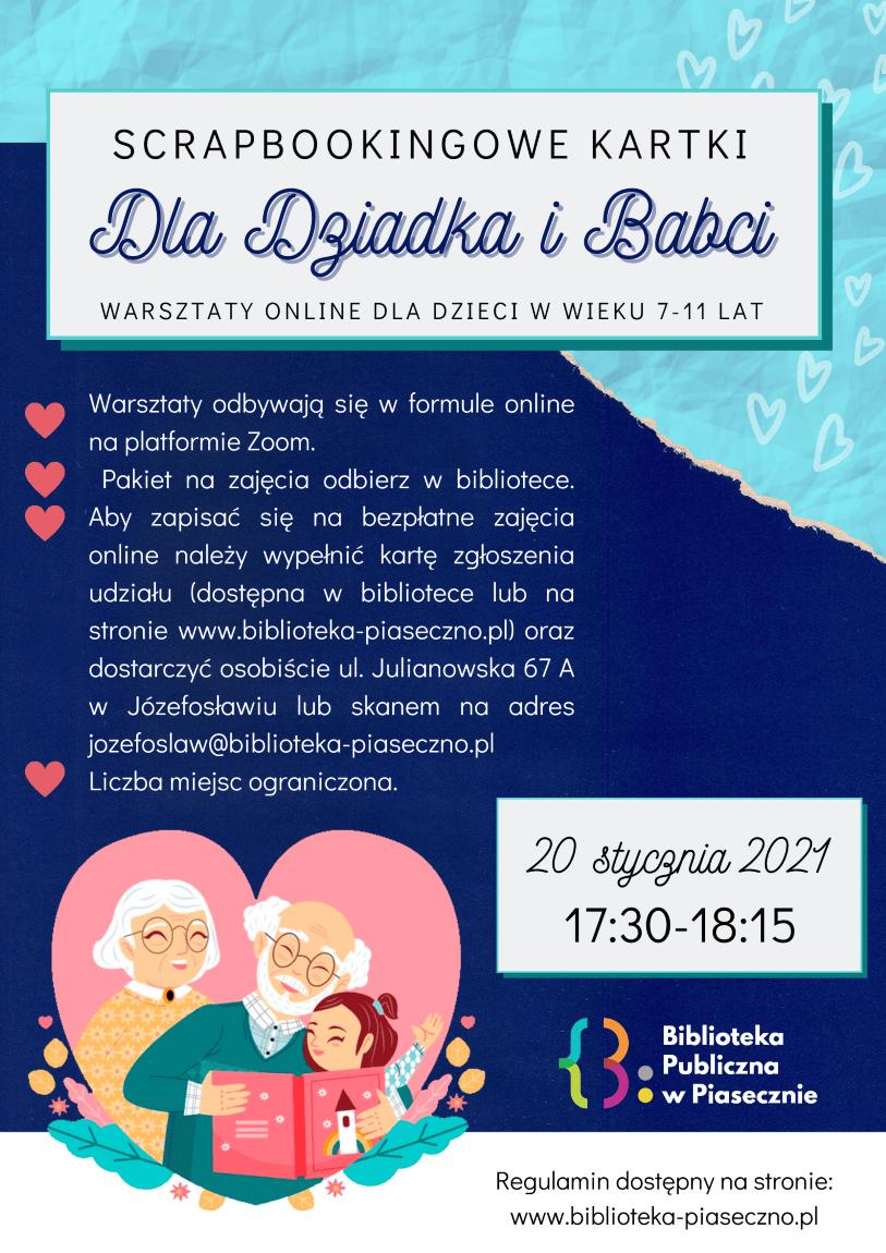 Plakat przedstawiający wydarzenie scrapbookingowe kartki dla babci i dziadka