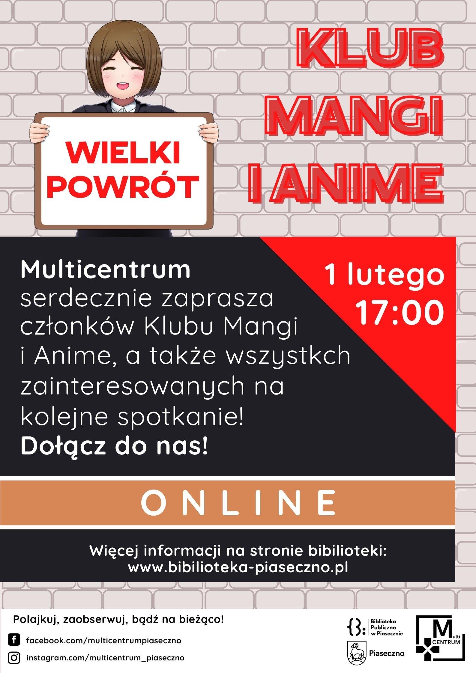 Plakat informujący o powrocie spotkań Klubu Mangi i anime