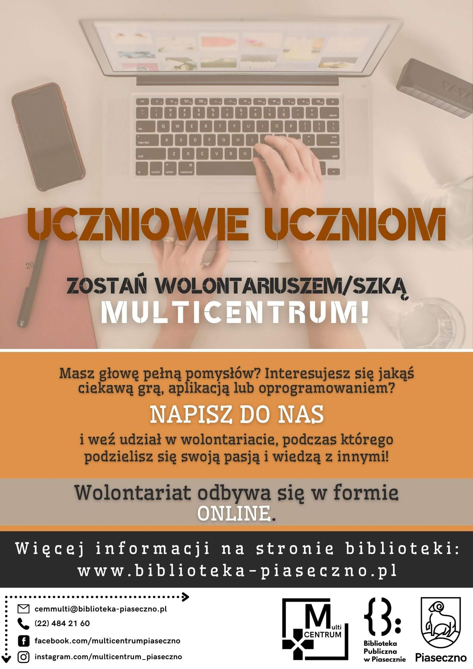 Plakat informujący o możliwości odbycia wolontariatu online w Multicentrum