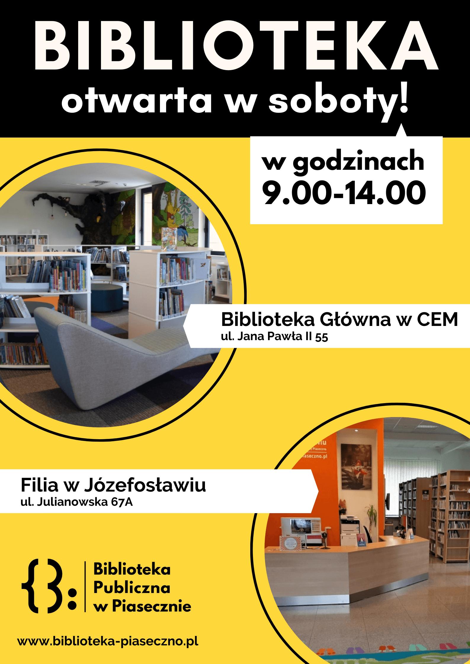 Zmiany odstycznia 2021  Biblioteka Główna ifilia wJózefosławiu będą otwarte wsoboty od9.00 do14.00 (2 stycznia nieczynne) Biblioteka Główna wśrody będzie czynna od12.00 do19.00