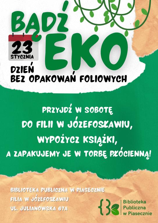 Plakat promujący wydarzenie Bądź eko