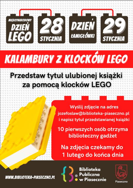Plakat przedstawiający akcję Kalambury z klocków LEGO