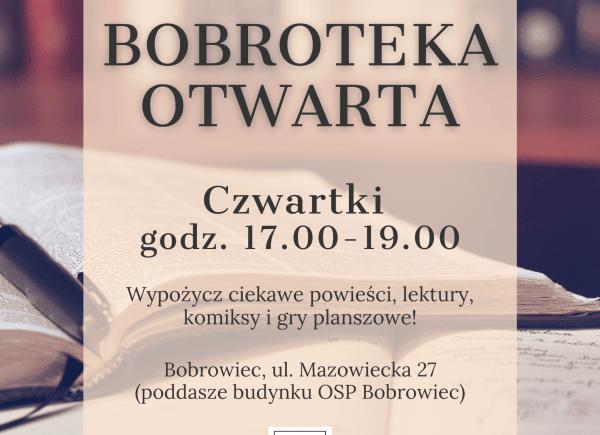 Plakat dotyczący otwarcia punktu bibliotecznego w Bobrowcu