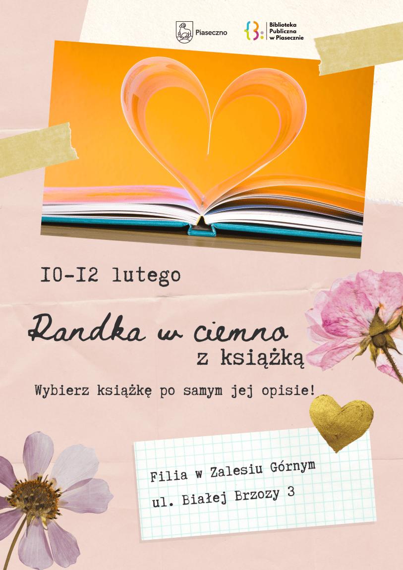 Plakat dotyczacy akcji randka w ciemno z książką