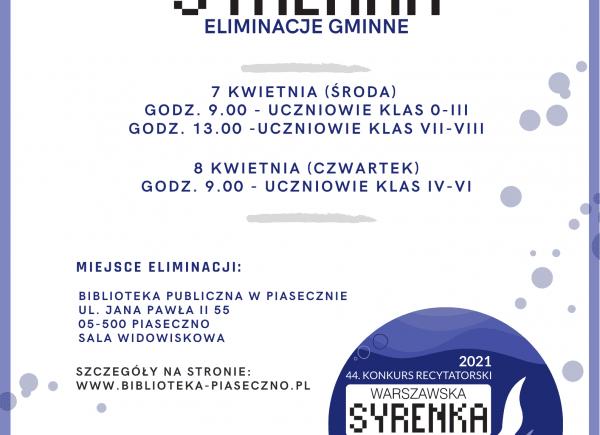 Syrenka Warszawska Eliminacje Gminne Piaseczno - plakat