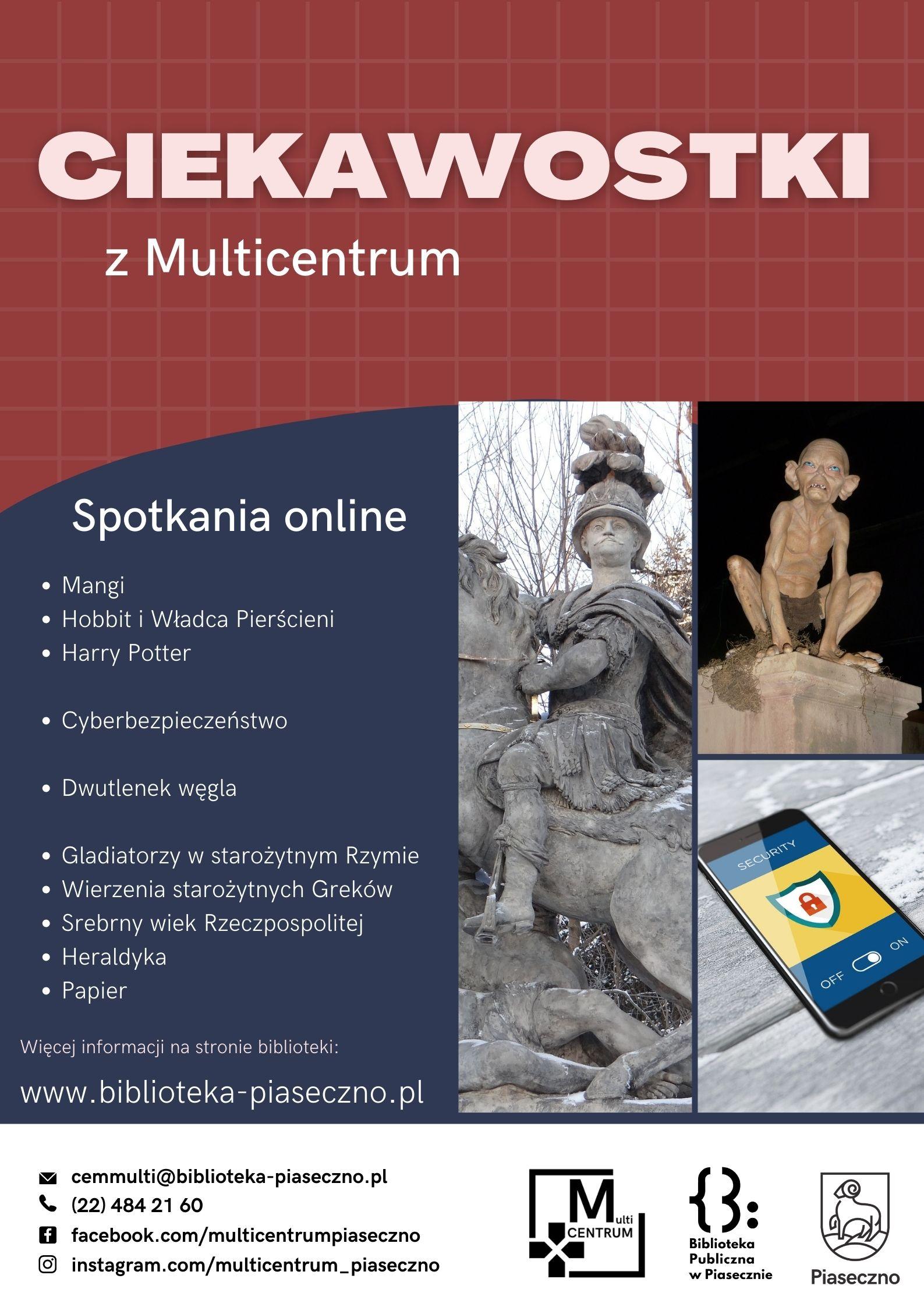 Plakat promujący spotkania tematyczne online organizowane przez Multicentrum