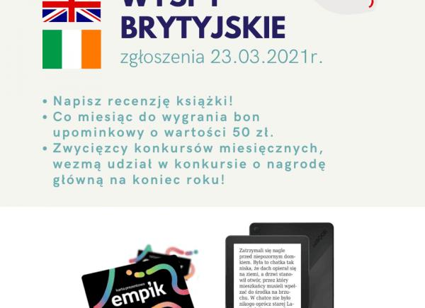 Czytelniczy Challenge Marzec I Wyspy Brytyjskie -plakat informujący o konkursie