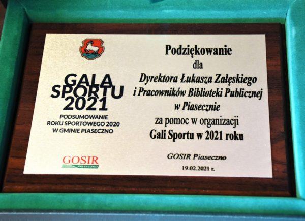 Podziękowanie odGOSIR dla biblioteki zapomoc worganizacji Gali Sportu