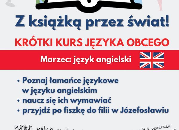 Plakat promujący krótki kurs językowy