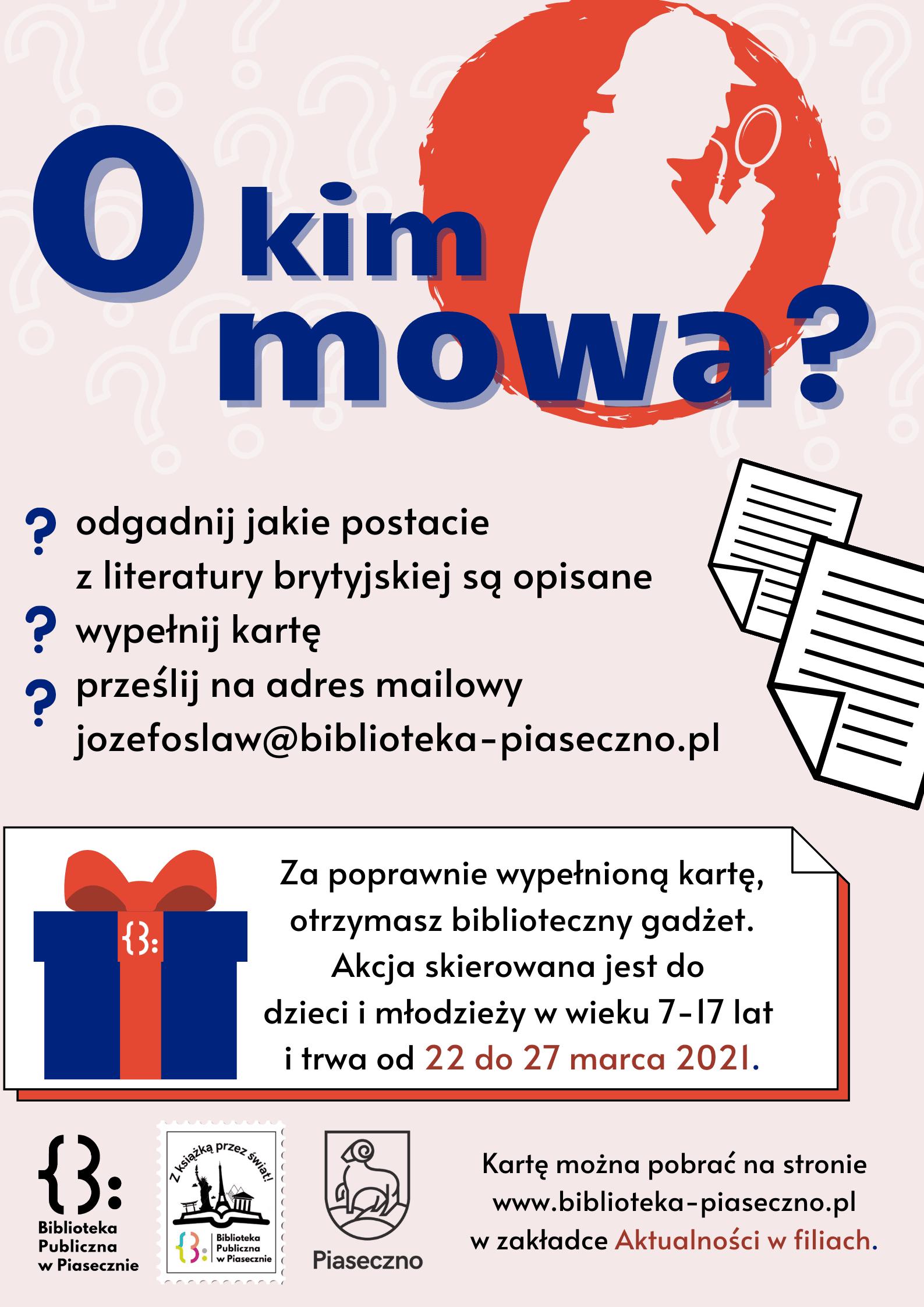 Plakat promujący grę O kim mowa