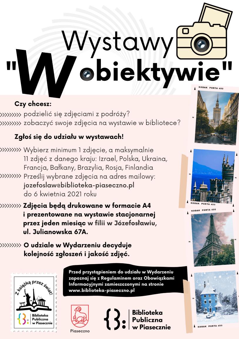 Plakat promujący wydarzenie wystawy W obiektywie